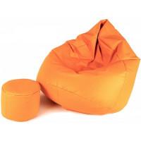 AGA XXXL Babzsákfotel lábtartóval - Világos narancssárga