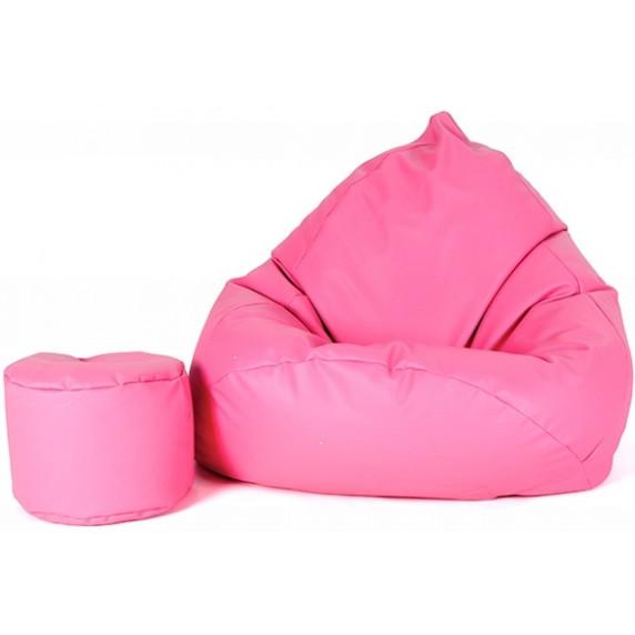 AGA XXXL Babzsákfotel lábtartóval - Rózsaszín