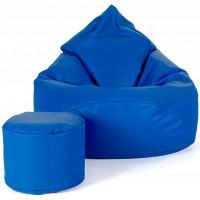 Babzsákfotel lábtartóval AGA XXXL - Kék