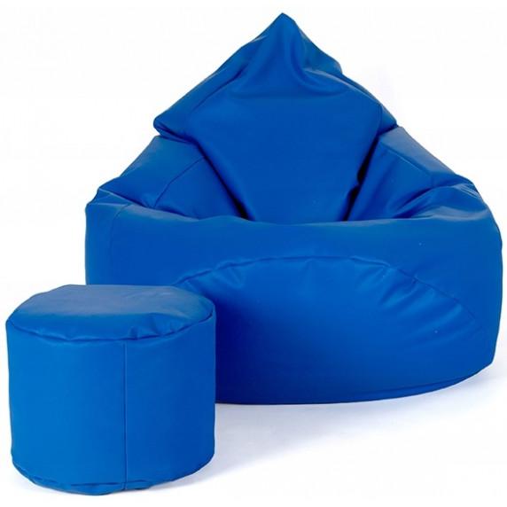 AGA XXXL Babzsákfotel lábtartóval - Kék