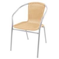 Fém kerti szék rattan szövésű szék Linder Exclusiv MC4608 - ezüst /bézs
