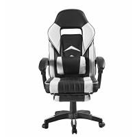 Irodai szék lábtámasszal Aga MR2040White - Fekete/fehér
