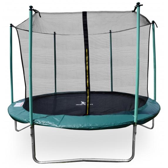 Aga SPORT FIT 250 cm trambulin belső védőhálóval - Sötét zöld
