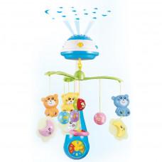 BABY MIX zenélő körforgó kivetítővel Macis - kék Előnézet