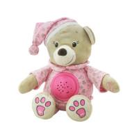 Baby Mix plüss sapkás maci projektorral - rózsaszín