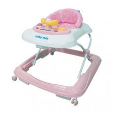 Baby Mix bébikomp kormánykerékkel - rózsaszín Előnézet