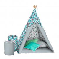 Akuku Teepee gyerek sátor - Szürke/kék