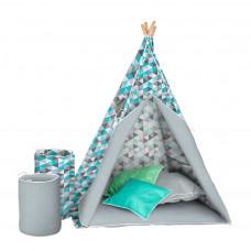 Akuku Teepee gyerek sátor - Szürke/kék Előnézet