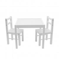 New Baby PRIMA gyerek fa asztal székekkel - Fehér