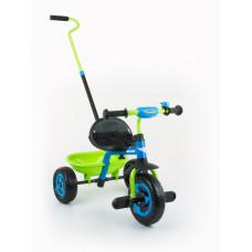 Milly Mally Boby Turbo tricikli tolókarral - kék/zöld Előnézet