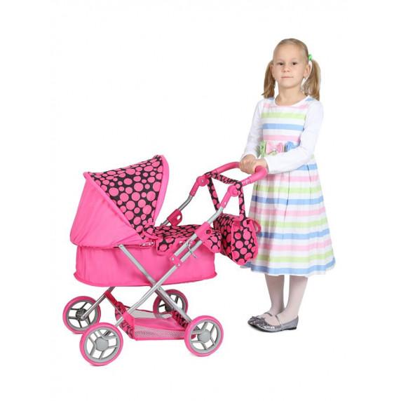 PLAY TO Viola játék babakocsi - rózsaszín-fekete