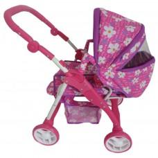 Baby Mix 2az1-ben játék babakocsi - lila virágmintás Előnézet