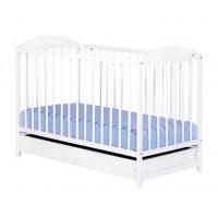 Drewex Kuba II gyermek kiságy ágyneműtartóval - fehér