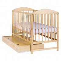 Gyermek kiságy ágyneműtartóval Drewex Kuba II - természetes