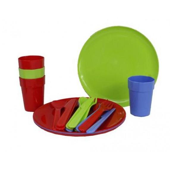 InGarden Műanyag piknik készlet 20 darabos - színes