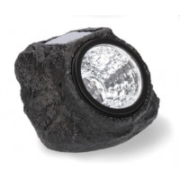 GARDEN LINE Napelemes kerti lámpa 12,6 x14,4 x 10 cm - természetes kő imitáció - fekete
