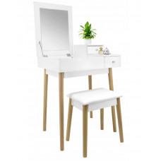Inlea4Fun Tükrös fésülködő asztal székkel - fehér Előnézet