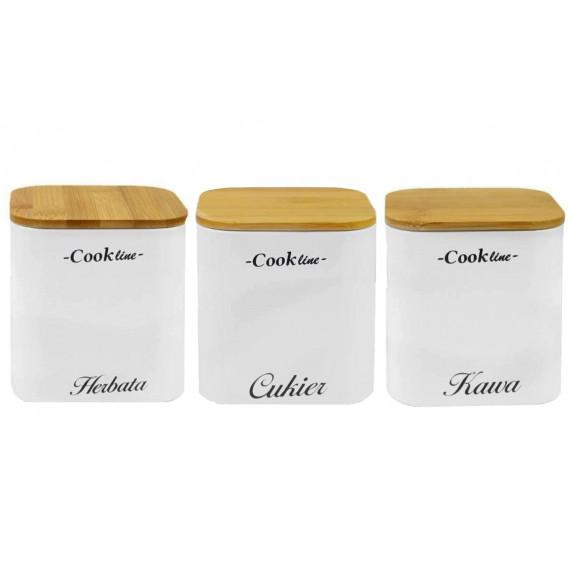 Cook Line Konyhai fém tároló doboz cukor, kávé, tea - fehér