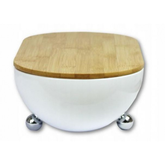 Cook Line ISSOPO Kenyértartó bambusz fedéllel fém lábakkal - fehér