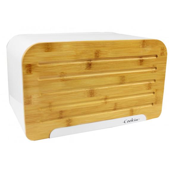 Cook Line ORIGANO Kenyértartó bambusz ajtóval - fehér