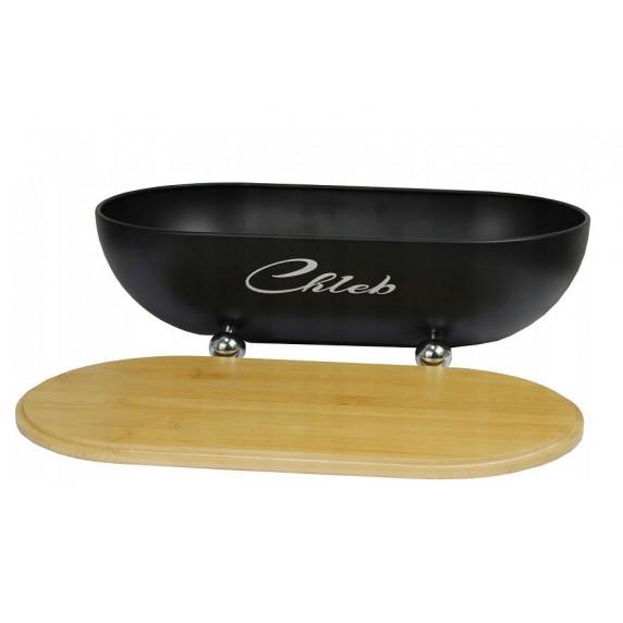 Cook Line ISSOPO Kenyértartó bambusz fedéllel fém lábakkal - fekete