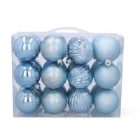 Karácsonyfa dísz szett 24 darab gömb 6 cm - kék