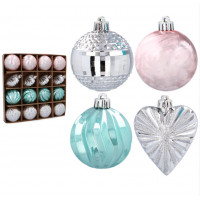Karácsonyfa dísz szett 16 darab 6/7 cm Inlea4Fun - Rózsaszín/menta/ezüst