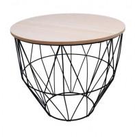 Dohányzóasztal, kisasztal 40/35 cm Inlea4Home 9039 - fekete/natúr