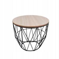 Dohányzóasztal, kisasztal 35/30 cm Inlea4Home 9046 - fekete/natúr