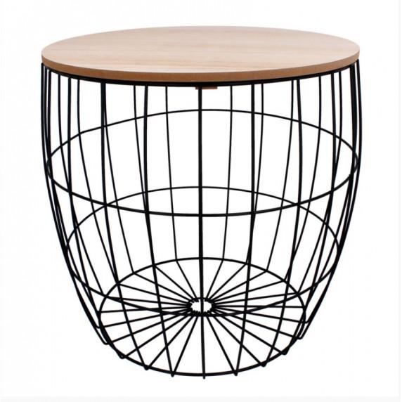 Dohányzóasztal, kisasztal 41/41 cm Inlea4Home 9206 - fekete/natúr