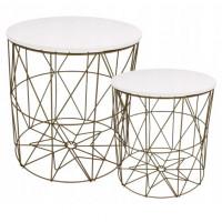 Dohányzóasztal, kisasztal szett Inlea4Home 9060/9077 - aranyszínű/fehér