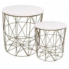 Dohányzóasztal, kisasztal szett Inlea4Home 9060/9077 - aranyszínű/fehér Előnézet