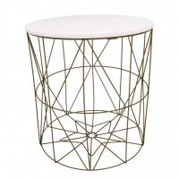 Dohányzóasztal, kisasztal 40/42,5 cm Inlea4Home 9077 - aranyszínű/fehér