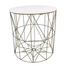 Dohányzóasztal, kisasztal 40/42,5 cm Inlea4Home 9077 - aranyszínű/fehér Előnézet