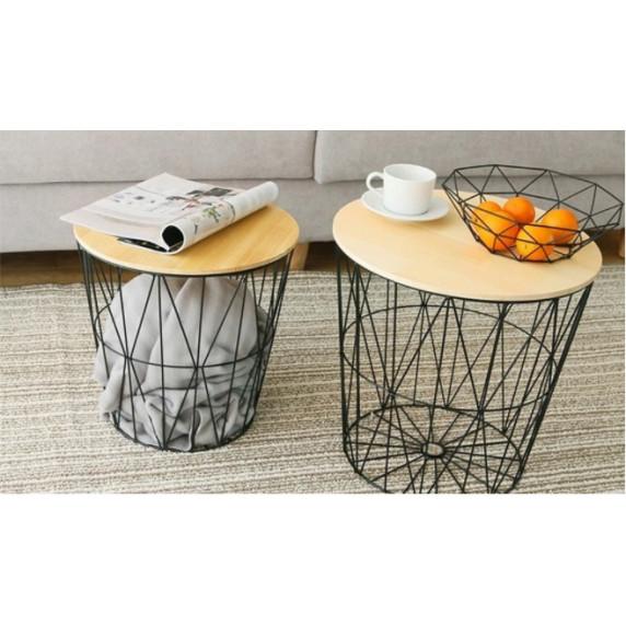 Dohányzóasztal, kisasztal 34/36 cm Inlea4Home 9152 - fekete/natúr