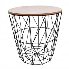Dohányzóasztal, kisasztal 39,5/41 cm Inlea4Home 9145 - fekete/natúr Előnézet