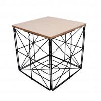 Dohányzóasztal, kisasztal kocka 30 cm Inlea4Home 9237 - fekete/natúr