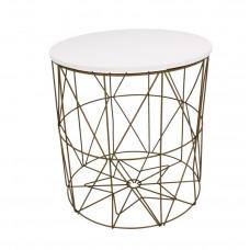 Dohányzóasztal, kisasztal 35/36,5 cm Inlea4Home 9060 - aranyszínű/fehér Előnézet