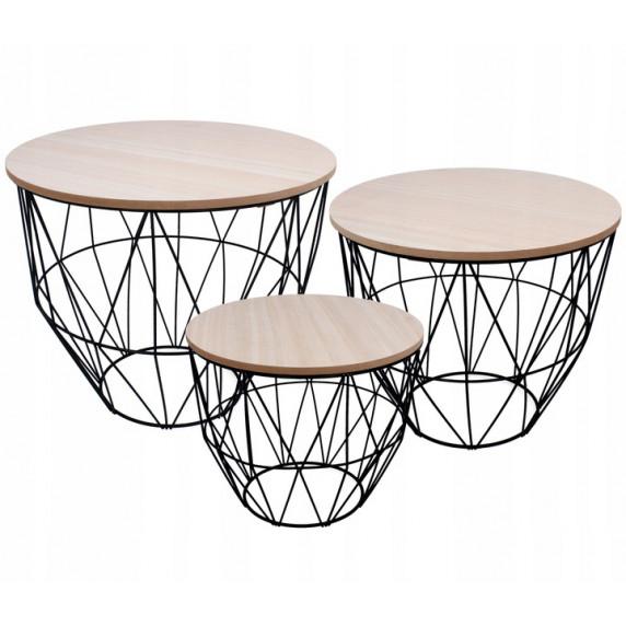 Dohányzóasztal, kisasztal szett Inlea4Home 9053/9046/9039 - fekete/natúr