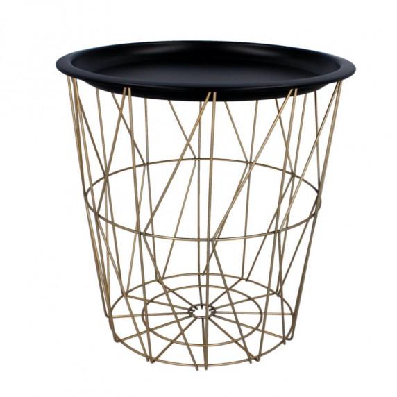 Dohányzóasztal, kisasztal 34/36 cm Inlea4Home 9183 - aranyszínű/fekete