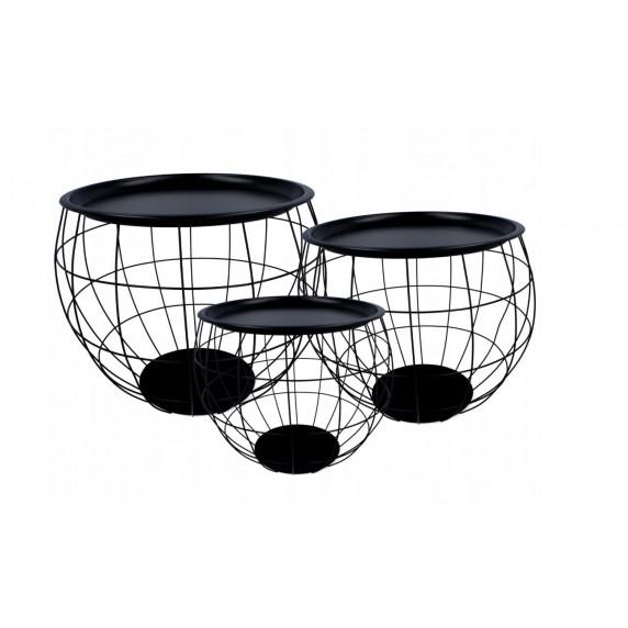 Dohányzóasztal, kisasztal szett Inlea4Home 9107/9091/9084 - fekete/fekete