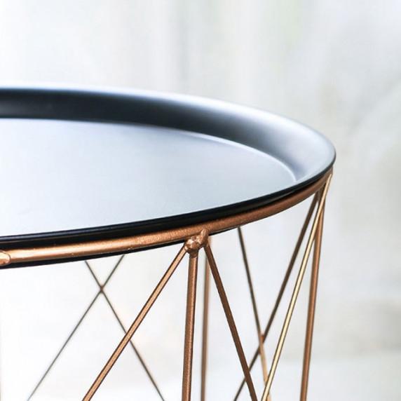 Dohányzóasztal, kisasztal 39,5/41 cm Inlea4Home 9176 - aranyszínű/fekete