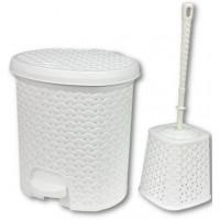 Rattan hatású pedálos szemetes, 5,5 l és WC kefe Inlea4Home - fehér