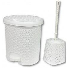 Rattan hatású pedálos szemetes, 5,5 l és WC kefe Inlea4Home - fehér Előnézet