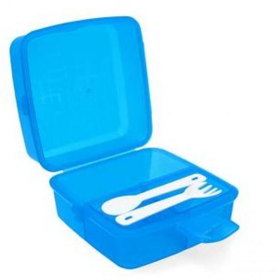 Tároló uzsonnás doboz evőeszközzel 1,4 l Inlea4Home - kék