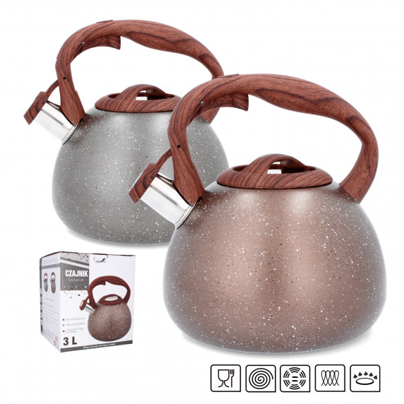 Rozsdamentes acél teafőző kanna 3 literes Inlea4Home - Barna