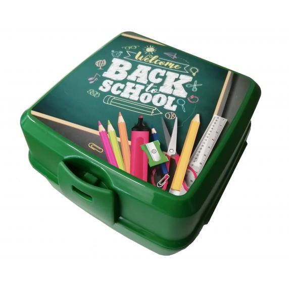 Tároló uzsonnás doboz evőeszközzel Inlea4Home - Back to School