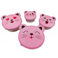 Tároló doboz szett 4 részes Inlea4Home -rózsaszín cica