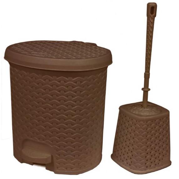 Rattan hatású pedálos szemetes, 5,5 l és WC kefe Inlea4Home - barna