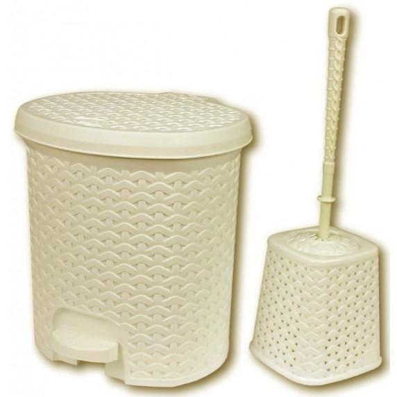 Rattan hatású pedálos szemetes, 5,5 l és WC kefe Inlea4Home - bézs